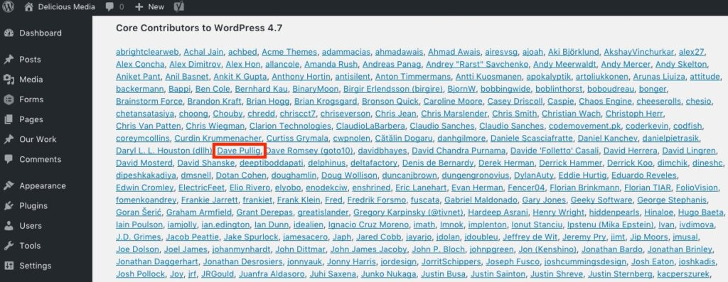 Screenshot of the WordPress credits screen with Dave Pullig's name highlighted.