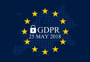 European flag with the words GDPR , a padlock and the date 25th May 2018 in the centre.