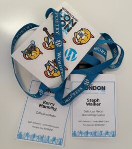 Lanyards and Stickers from WordCamp London 2018